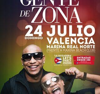 Concierto de Gente de Zona en Valencia el 24 de julio