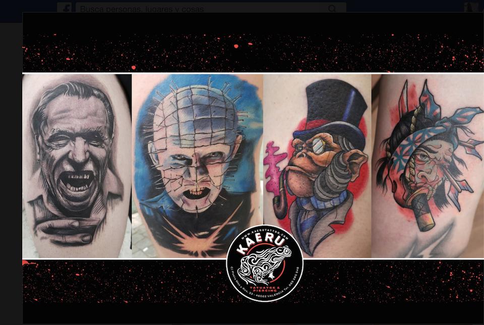 Cuatro diseños de tatuajes plasmados en la piel, cortesía de Kaeru tattoo