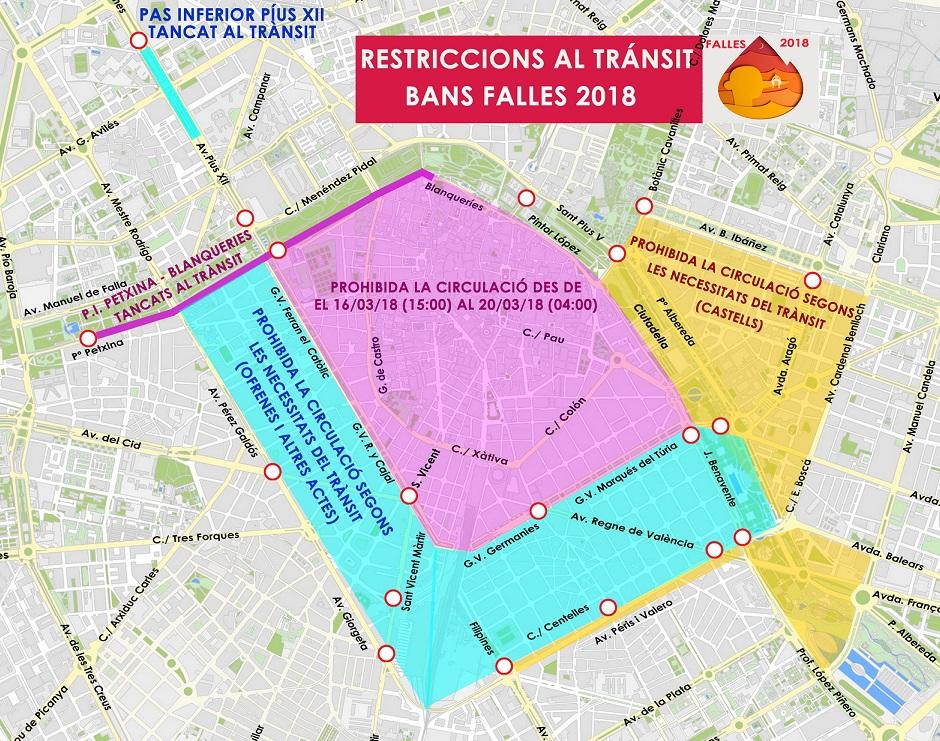 Restricciones circulación Fallas 2018