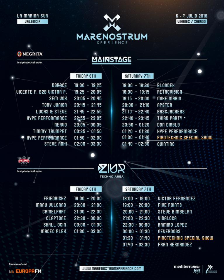 Cartelera conciertos Marenostrum Music Experience 2018, Marina Sur, Valencia