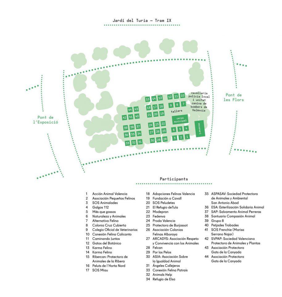 Mapa con la ubicación de los puestos que realizarán distintas actividades para celebrar el Día Internacional de los Animales