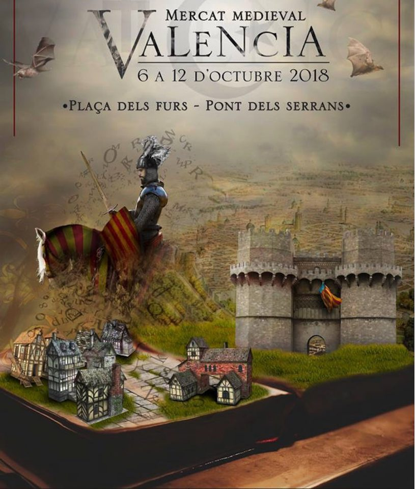 Cartel del Mercado Medieval Valencia, qué hacer en Valencia el día de la Hispanidad