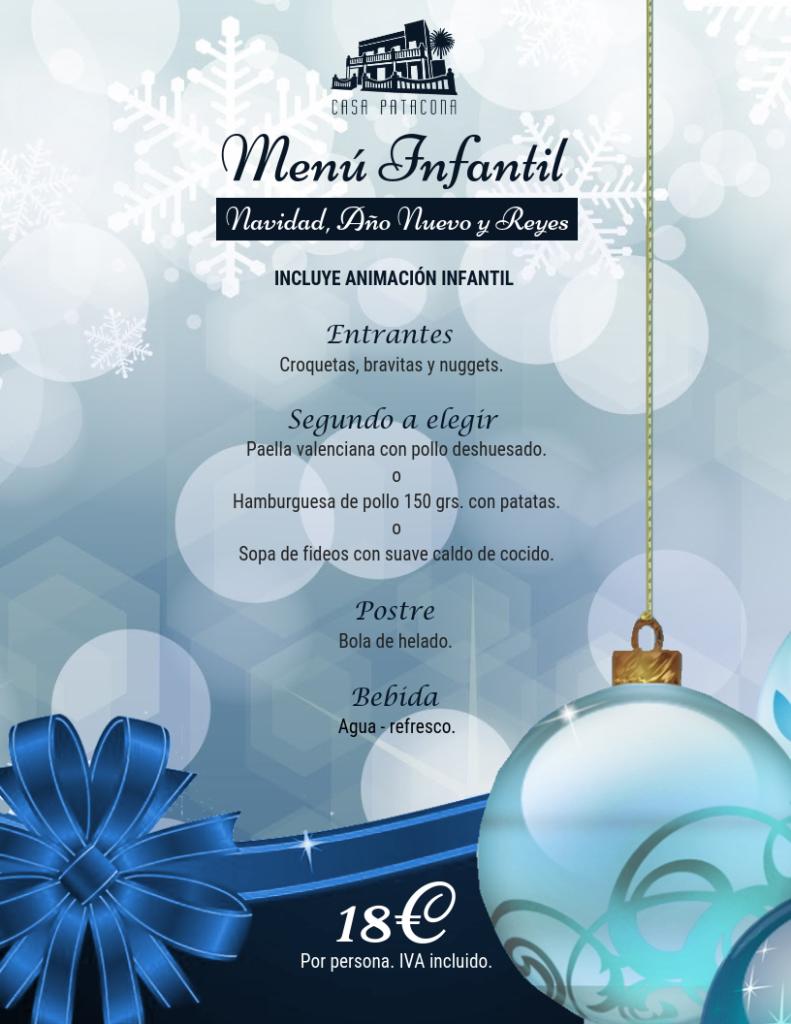 menús para comidas y cenas en Navidad