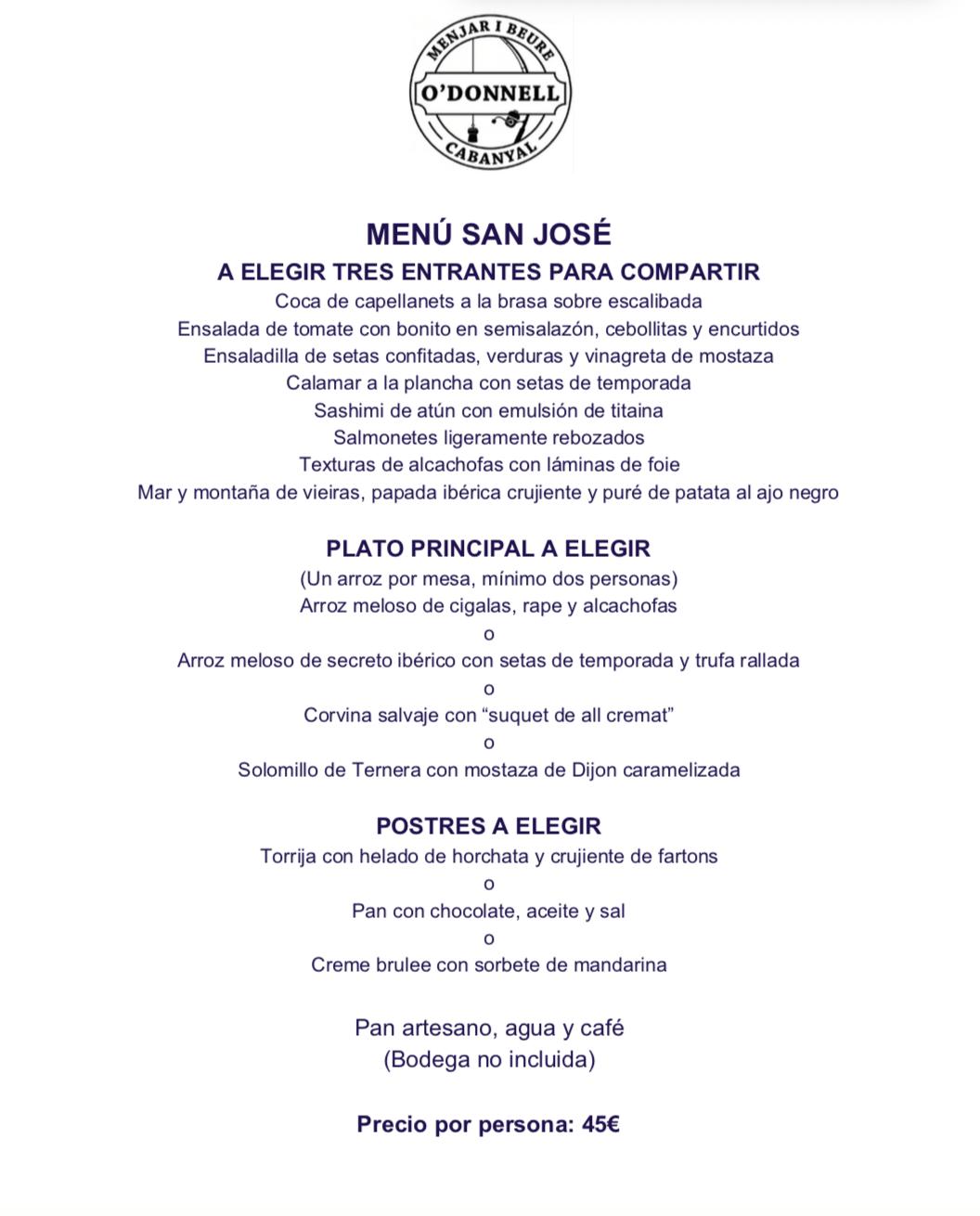 Menú Día de San José en O´DONNELL CABANYAL