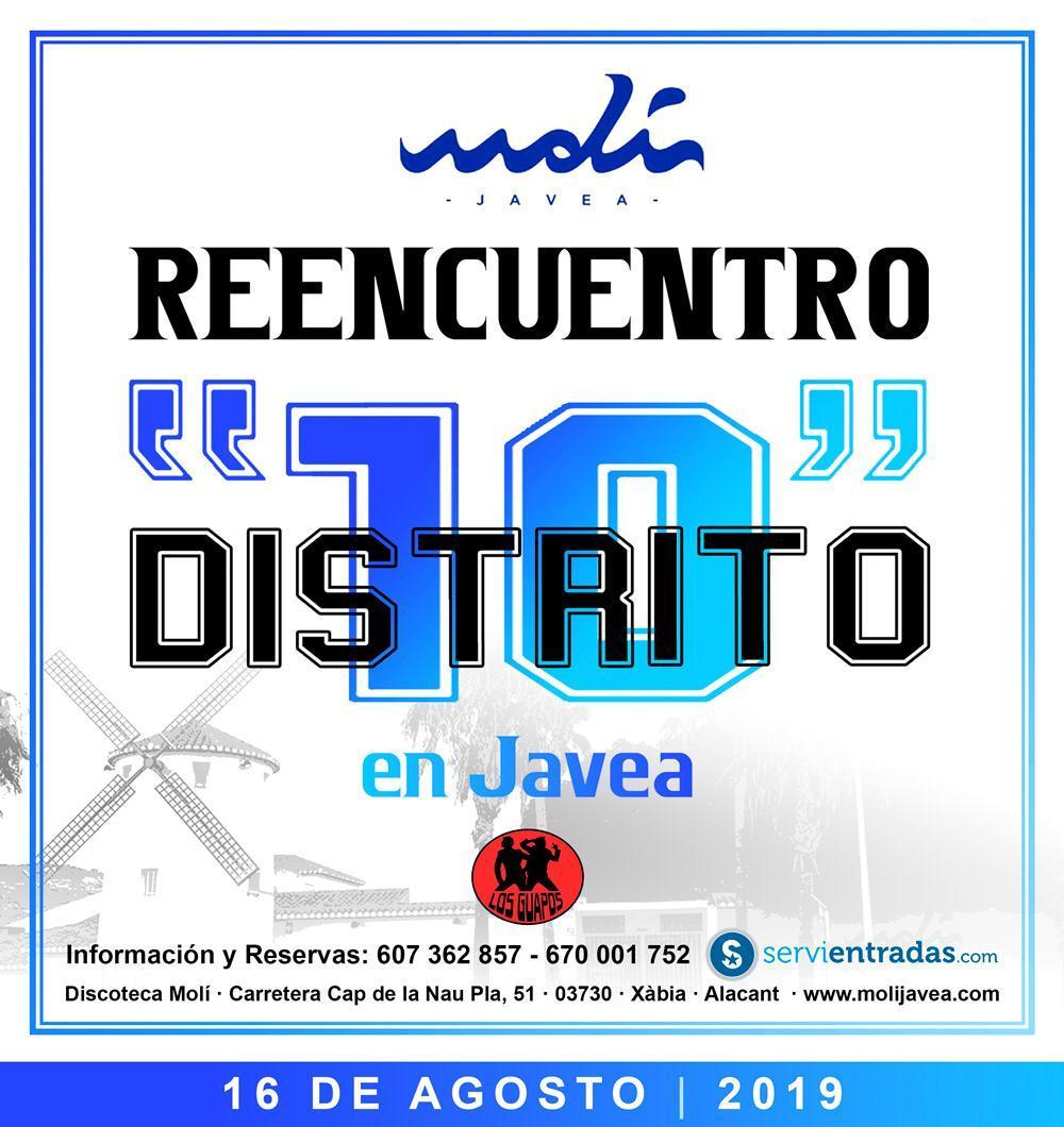 La discoteca El Molí de Jávea ha anunciado las últimas entradas a 25€ para la fiesta remember de Distrito 10 que tendrá lugar el 16 de agosto.